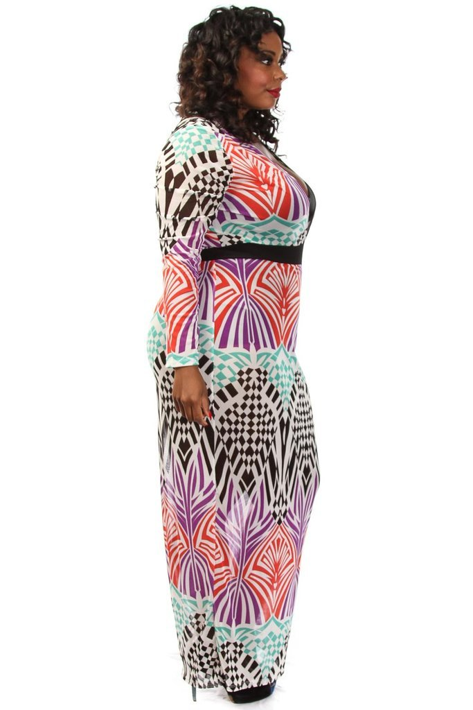 Plus Size Vibrant Geo Unique Print Maxi Dress