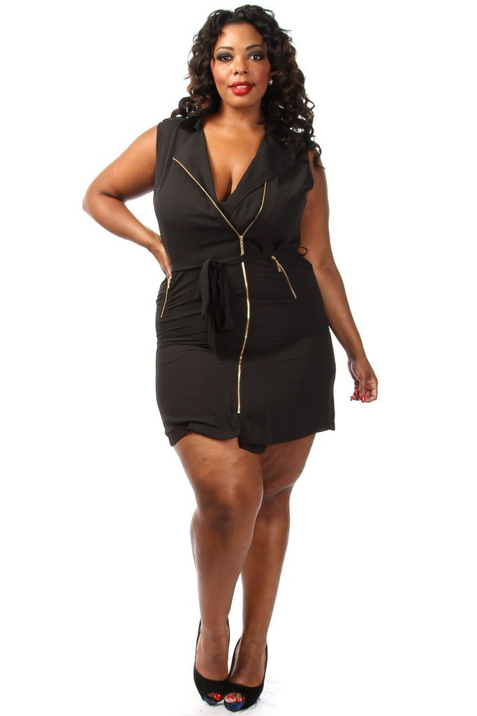 Plus Size Zip Up Chiffon Dress