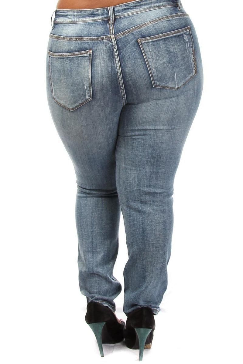 Plus Size Trendy Distressed Mid Rise Jeans
