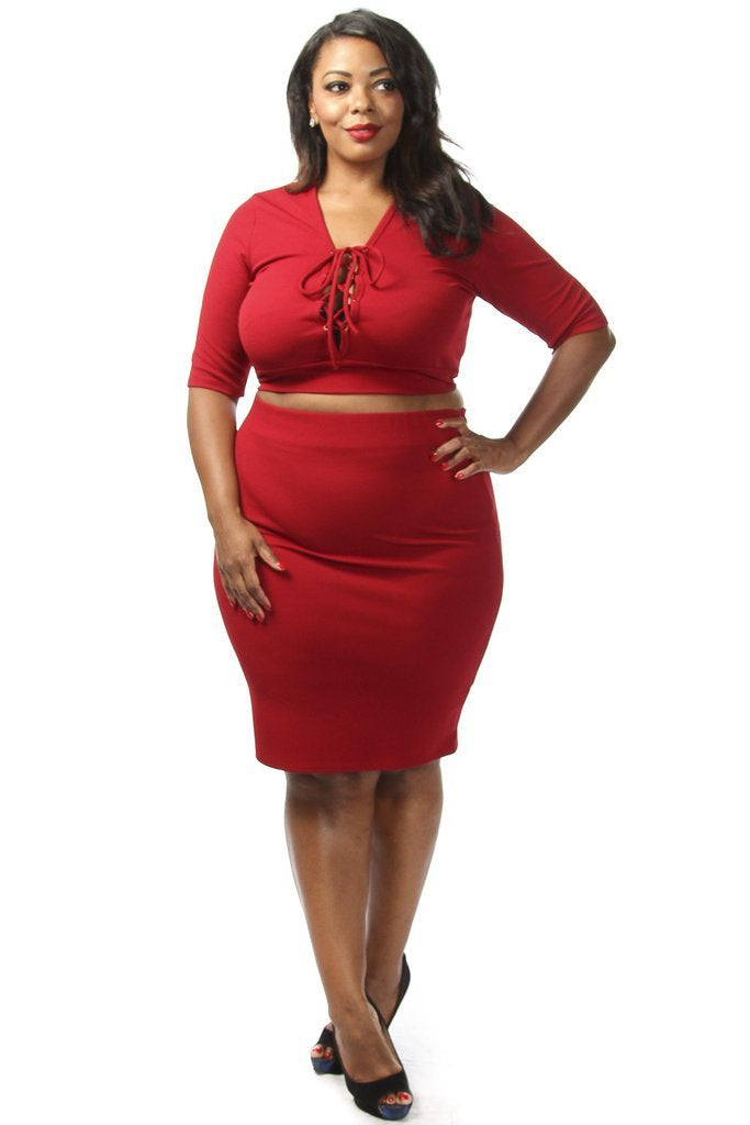 Plus Size Sexy Lace Up Crop Top  Skirt Set