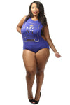 Plus Size Fancy Foil Unique Print Bodysuit