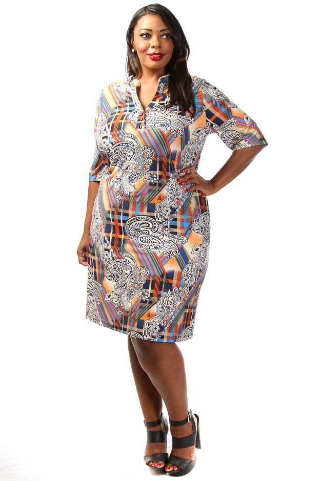 Plus Size Vibrant Ethnic Unique Print Shift Dress