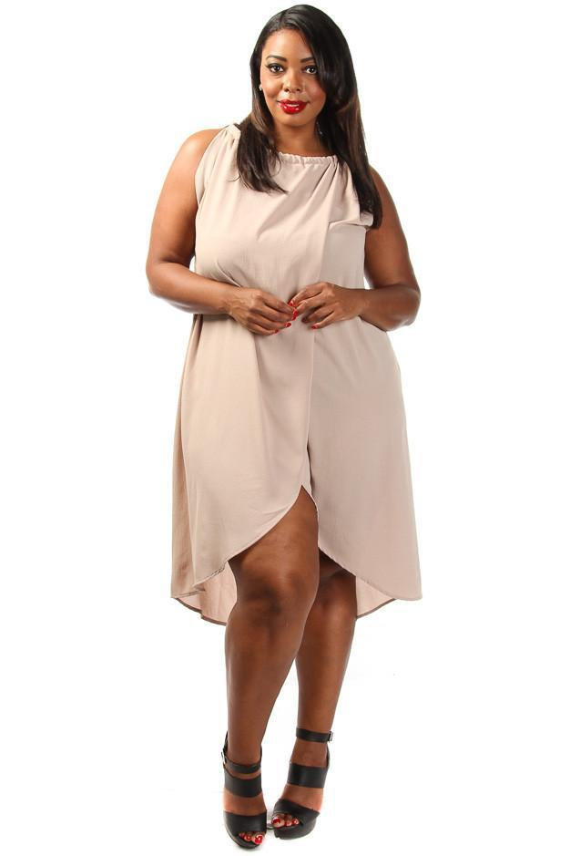 Plus Size Solid Drape Chiffon Dress