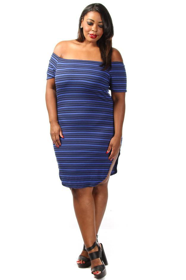Plus Size Stripe Sexy Off Shoulder Midi Dress