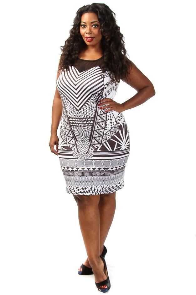 Plus Size Digital Unique Print See Through Mesh Top Dress