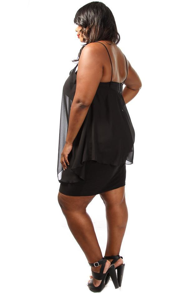 Plus Size Solid Chiffon Overlay Mini Dress