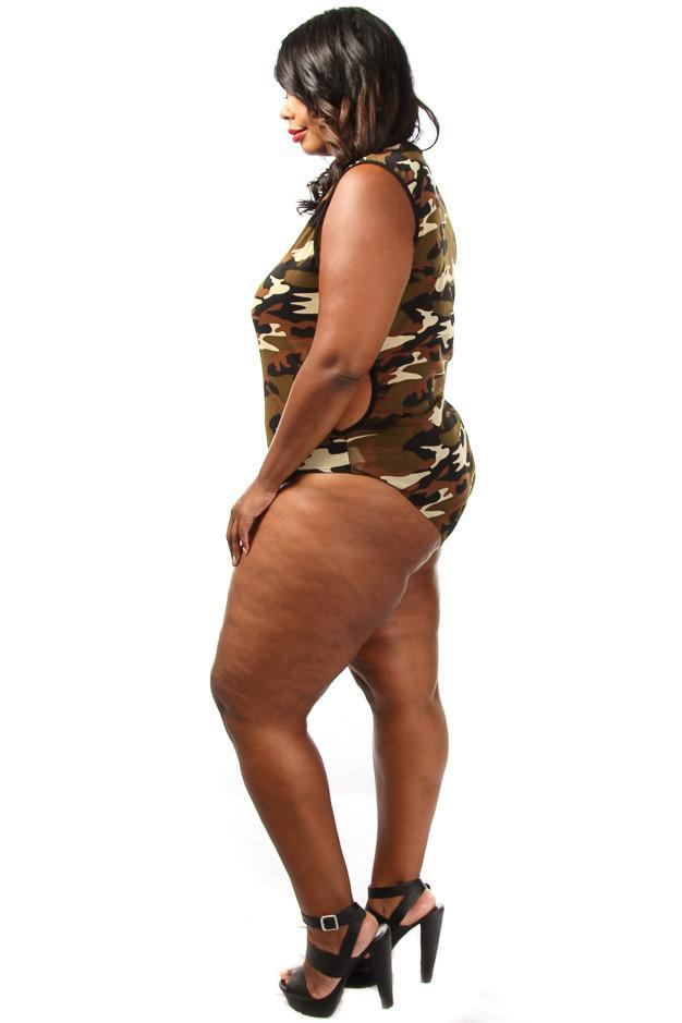 Plus Size Trendy Camo Unique Print Bodysuit