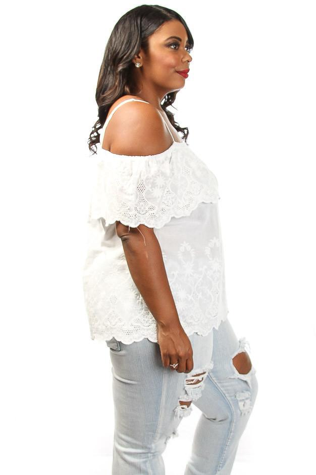 Plus Size Embroidered Sexy Off Shoulder Blouse