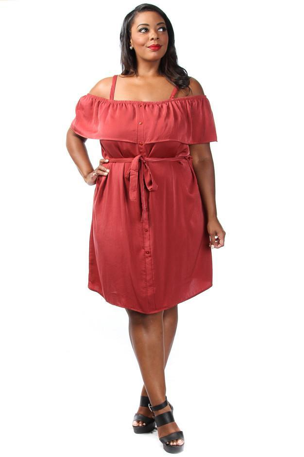 Plus Size Glam Ruffled Sexy Off Shoulder Button Down Dress