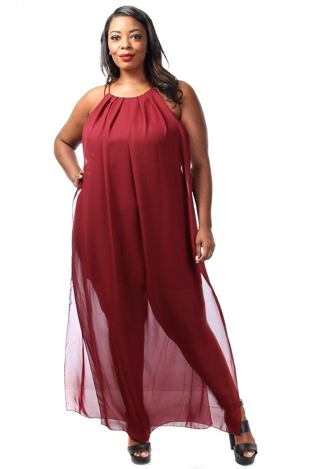 Plus Size Elegant Sheer Chiffon Maxi Dress