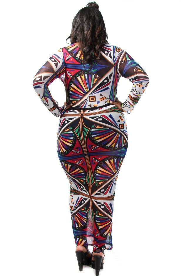 Plus Size Sublimation Unique Print See Through Mesh Maxi Dress