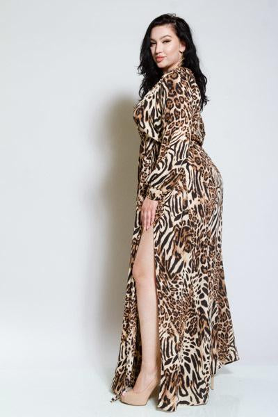 Leopard Plus Size Maxi Dress with Sleeves