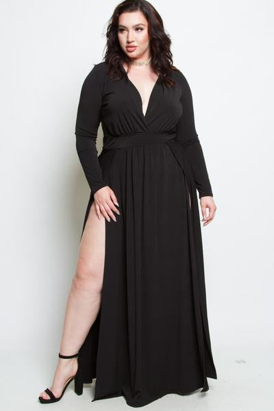 Plus Size Double Slit Maxi Long Sleeved Dress