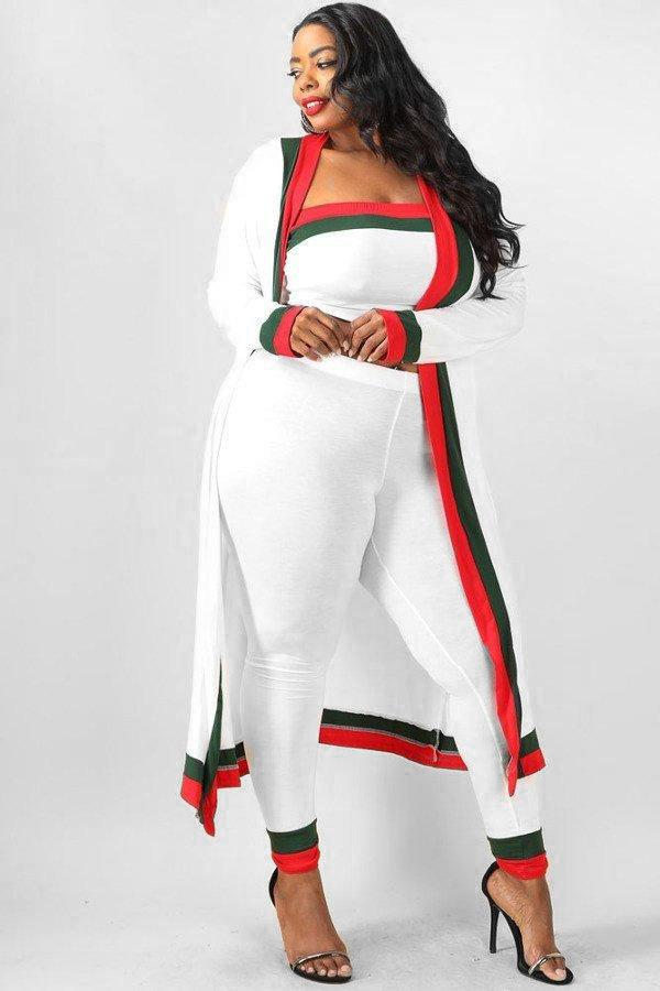 Plus Size Designer Colorblocked 3 Piece Set