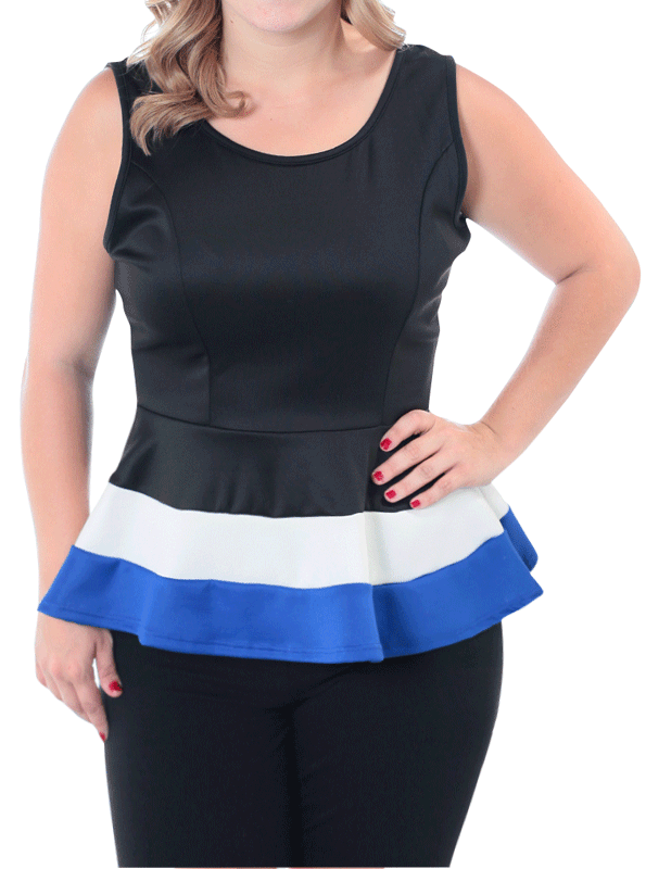 Plus Size Block Banding Slick Peplum Blue Top