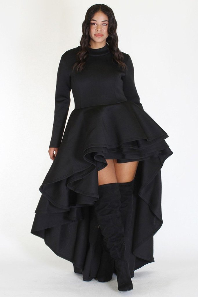Plus Size Long Sleeve Glam Hi Low Tiered Dress Black