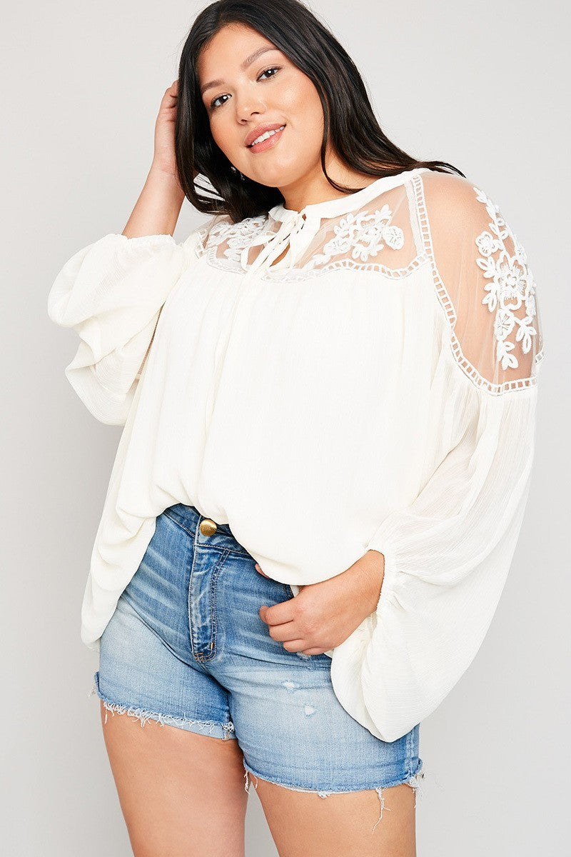 Plus Size Floral Lace Sheer Tunic Embroidery Top