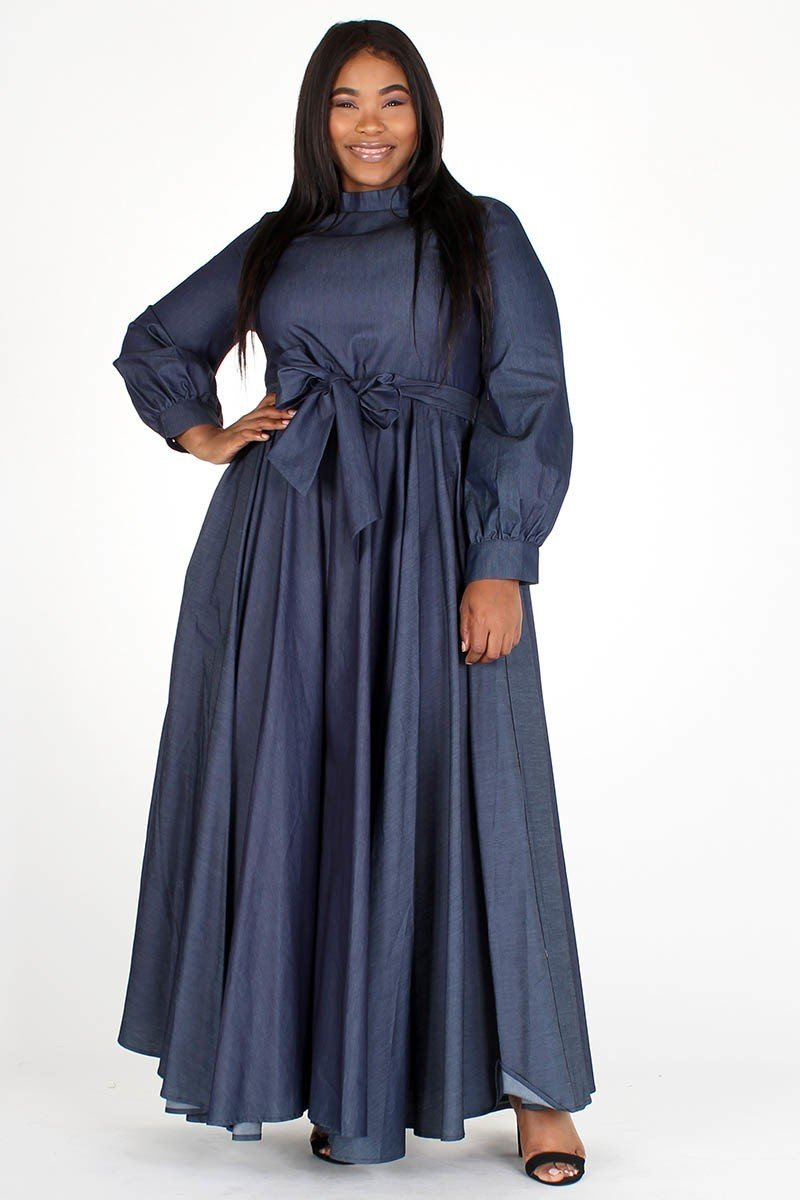 Plus Size Denim Maxi Flare Belted Side Pocket Dress
