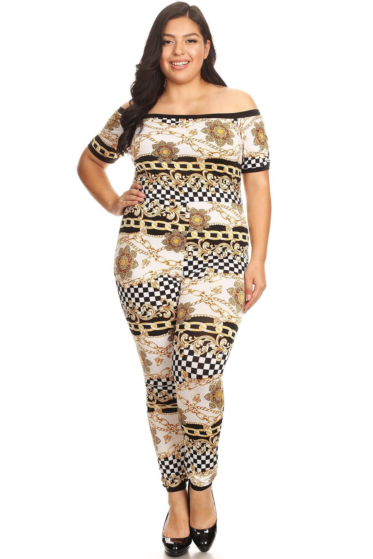 42eed02a7872d Plus Size Chains Printed Bodycon Fit Checkered Jumpsuit – slayboo