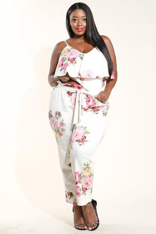 Plus Size Printed Ruffle Tank Top & Pants Set