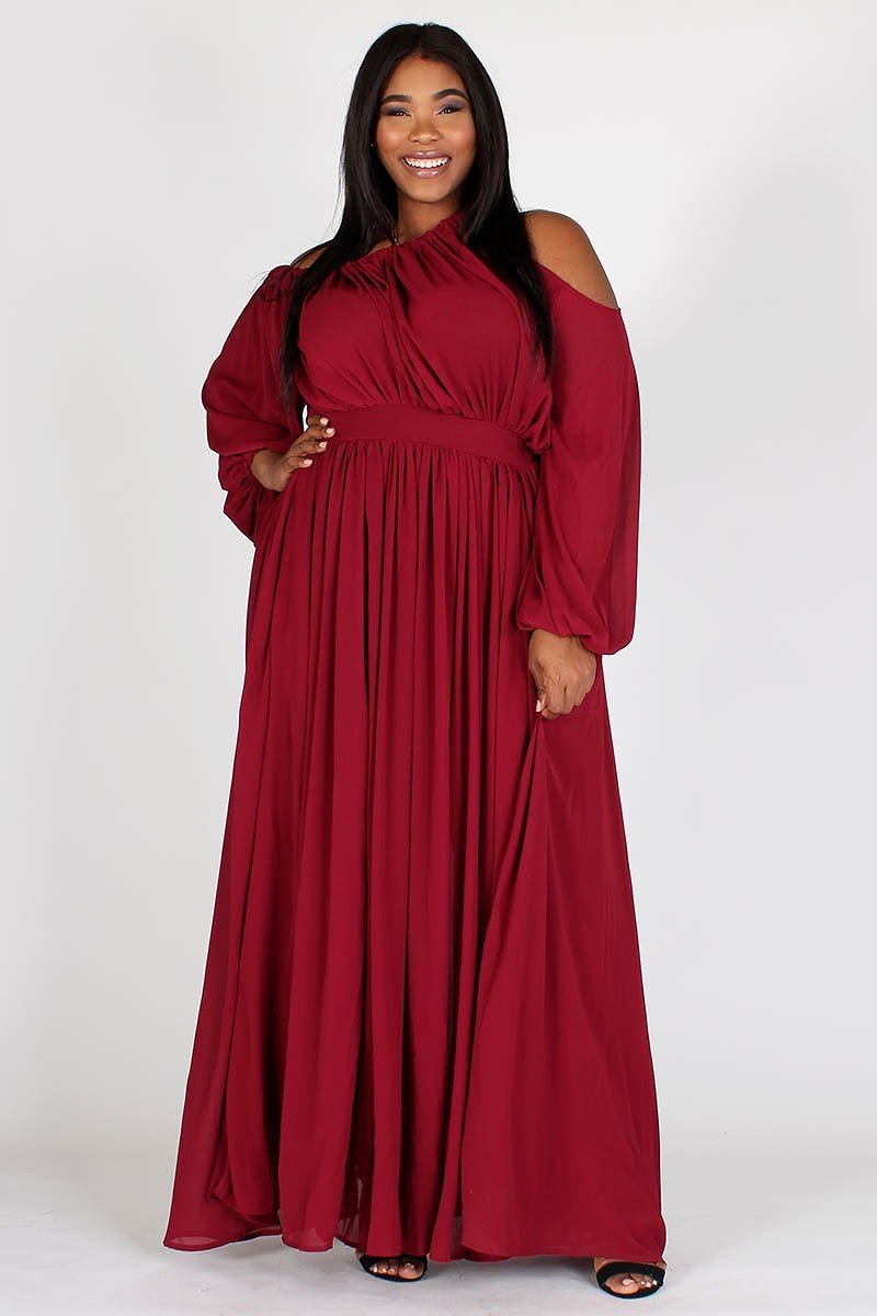 Plus Size Off Shoulder One Shoulder Pocketed Maxi Dress