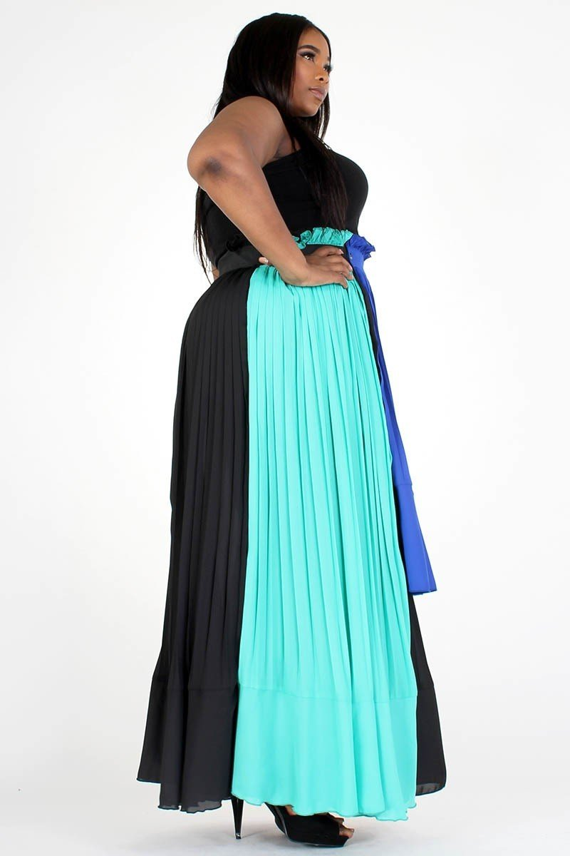 Plus Size Color Block High Waisted A-Line Maxi Skirt