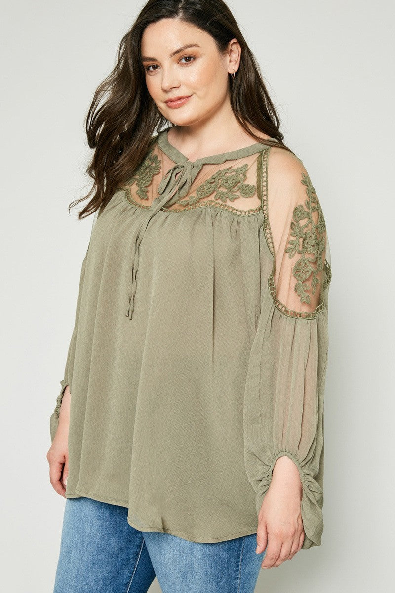 9f06d66fa55 Plus Size Floral Lace Sheer Tunic Embroidery Top – slayboo