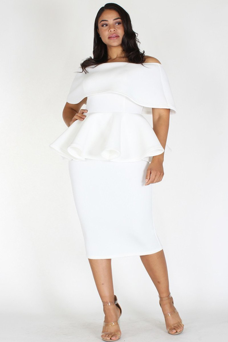 Plus Size Off Shoulder Peplum Pencil Skirt Dress White