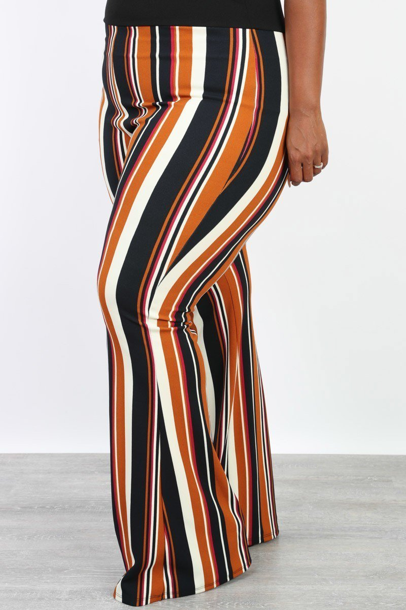Plus Size Stripe Cami Flare Stripe Pattern Jumpsuit