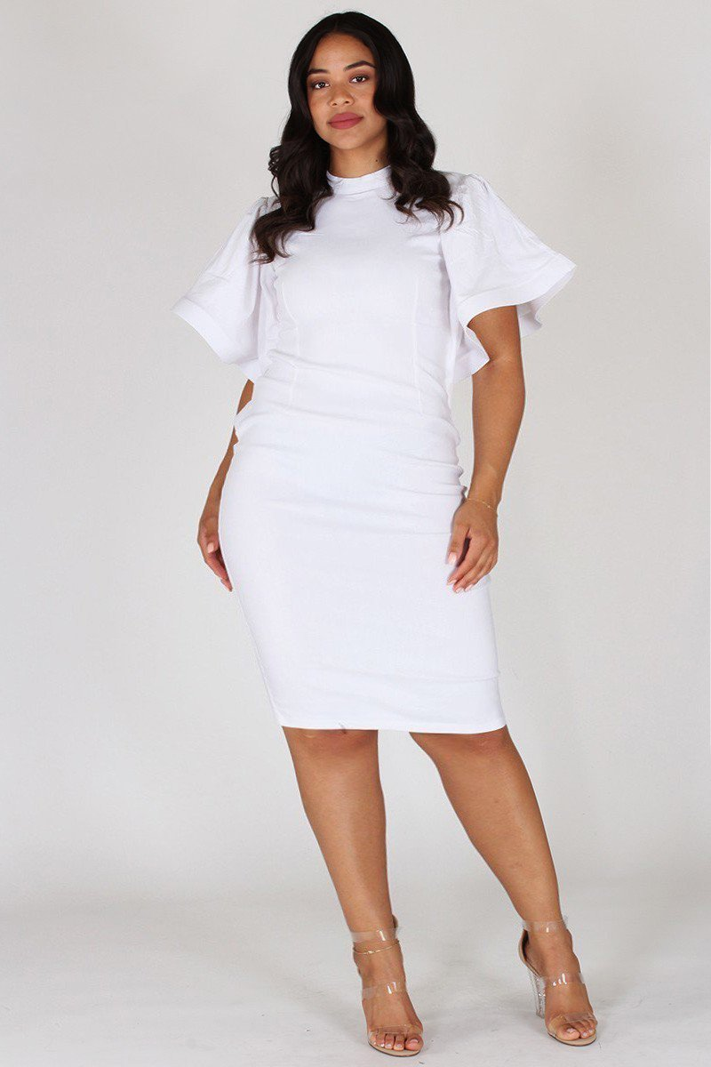 f24fa5c2135 Plus Size Elegant Bell Sleeves Keyhole Dress