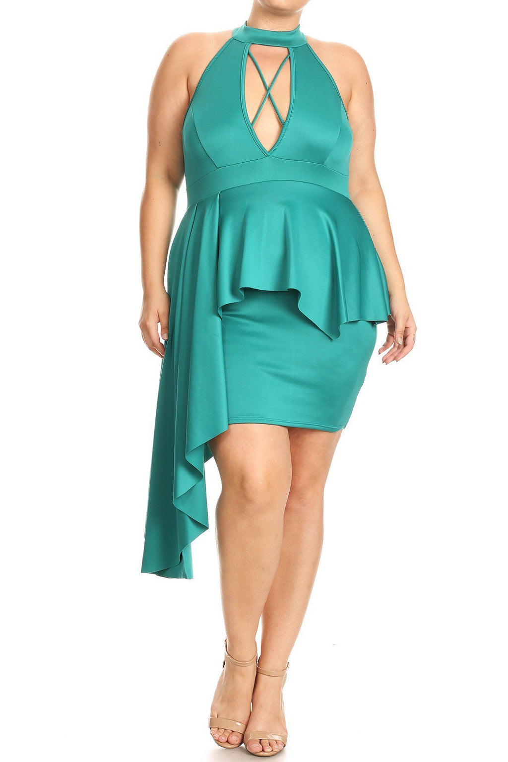 Plus Size Sexy Asymmetrical Criss Cross Peplum Dress [SALE]