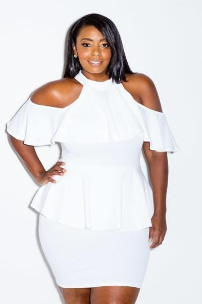 Plus Size Cold Shoulder Lovely Ruffle Peplum Dress [SALE]