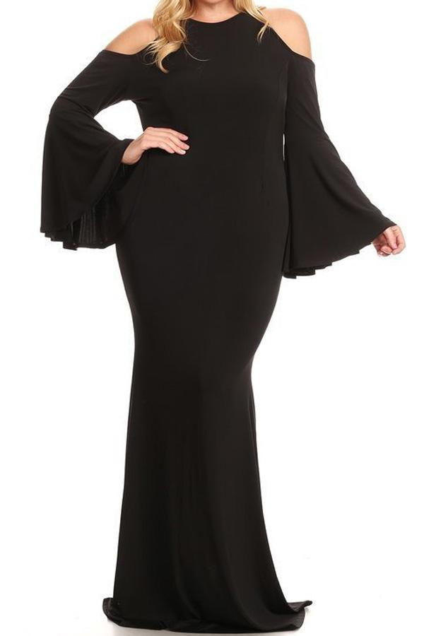 Plus Size Bell Sleeve Off Shoulder Solid Maxi Dress