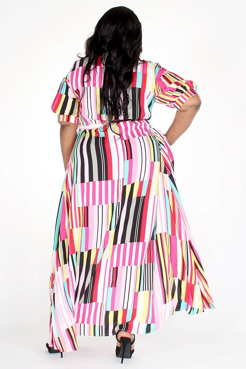 Plus Size Colorful Multi Stripe Pocketed Maxi Dress