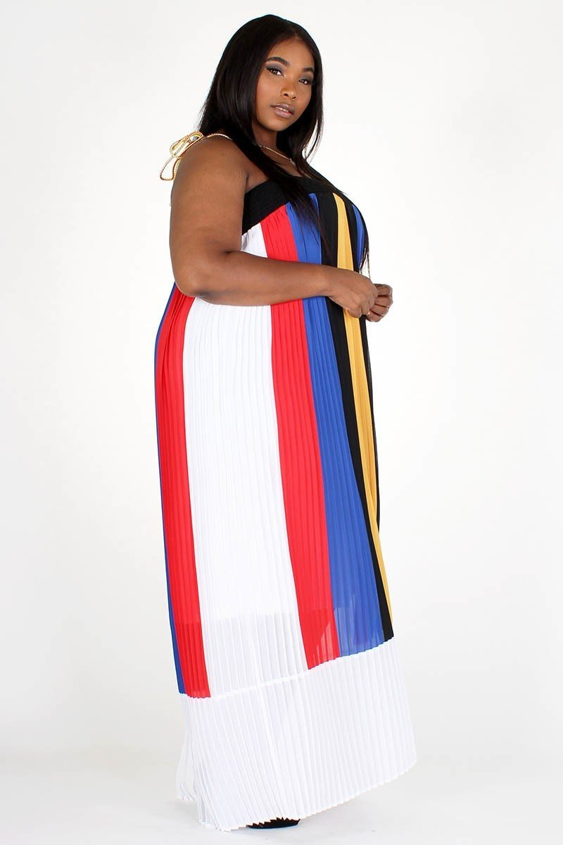 Plus Size Colorful Stripe Spaghetti Strap Maxi Dress