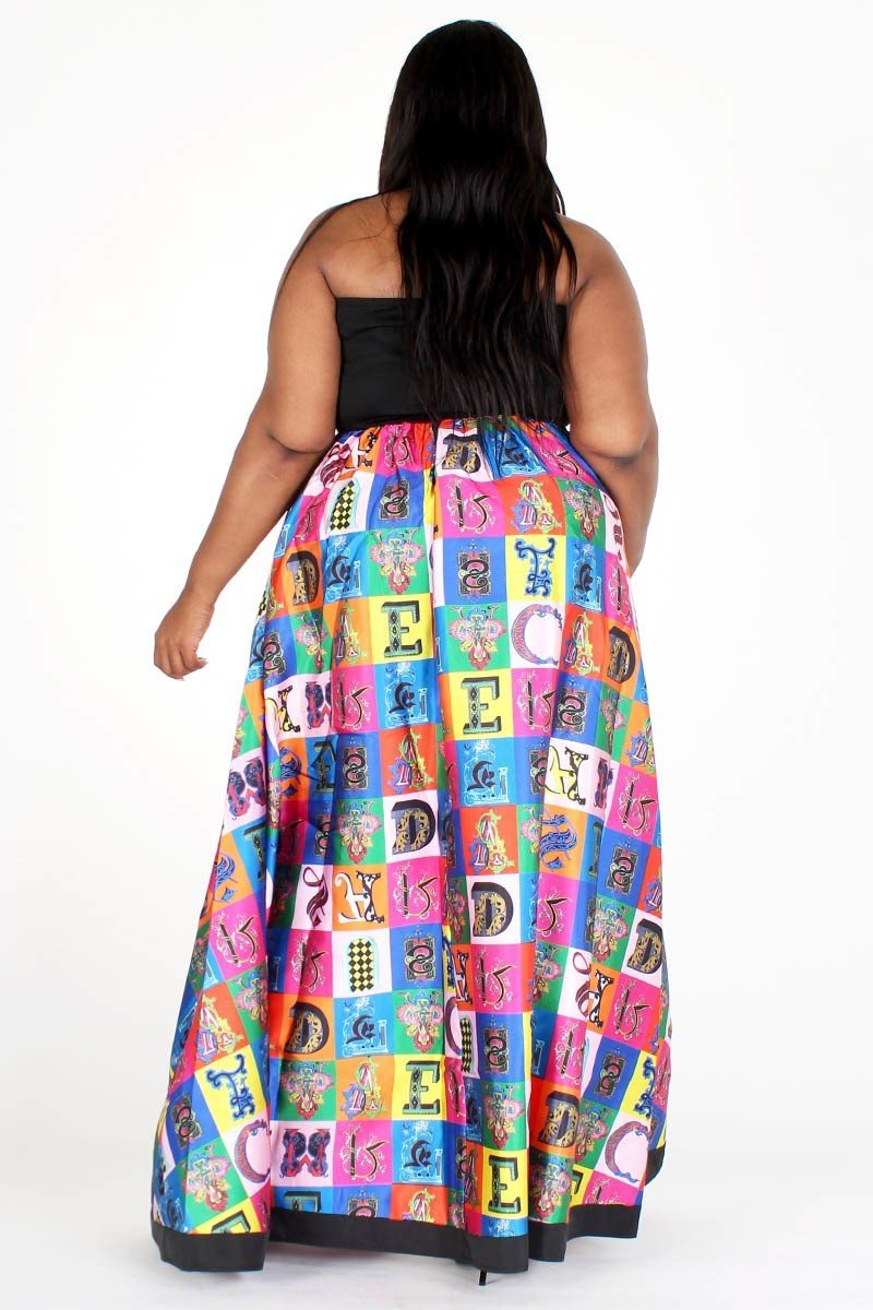 Plus Size Colorful Print Pocketed Tube Top Maxi Dress