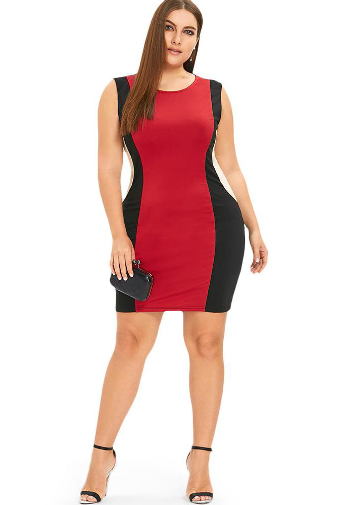 Plus Size Hourglass Colorblock  Bodycon Club Dress
