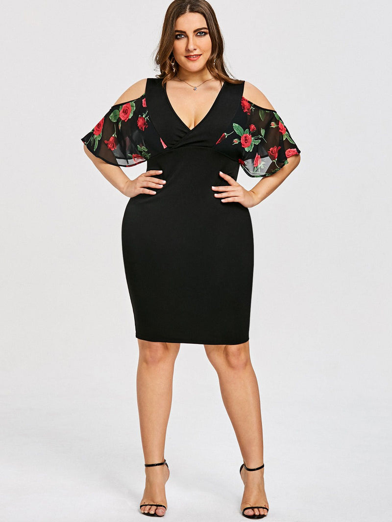 d96aa621d81 Plus Size Rose Print Cold Shoulder Bodycon Cocktail Dress – slayboo