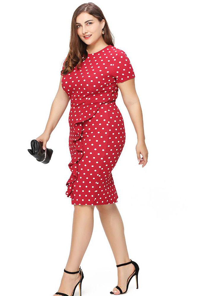 Plus Size Classic Polka Dot Ruffle Bodycon Dress