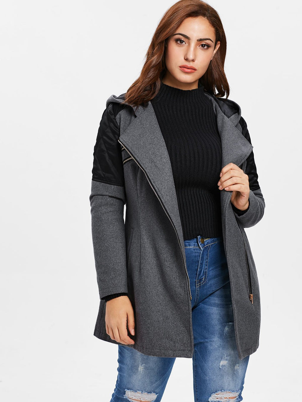 0a8ad33765e Plus Size Wool Contrast Hooded Zip Up Coat Jacket