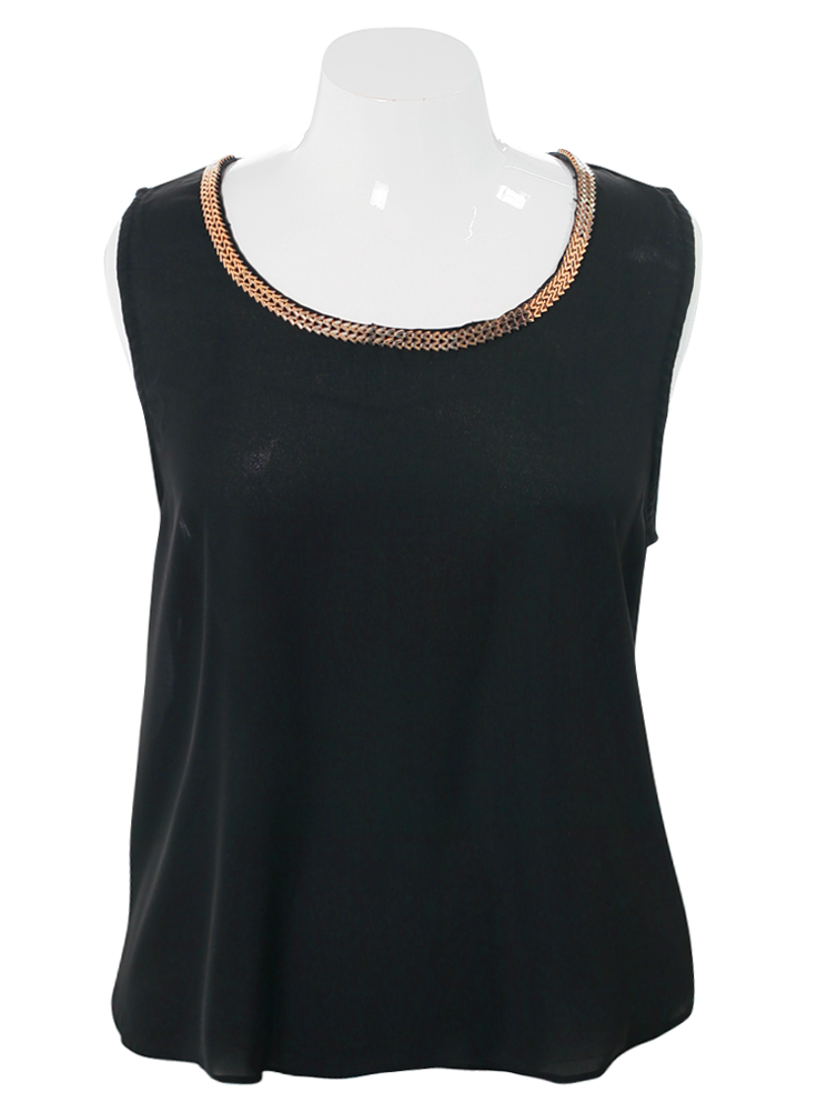 Plus Size Gilded Chains Sheer Black Top