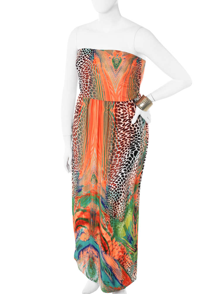 Plus Size Stunning Wild Print Orange Maxi Dress