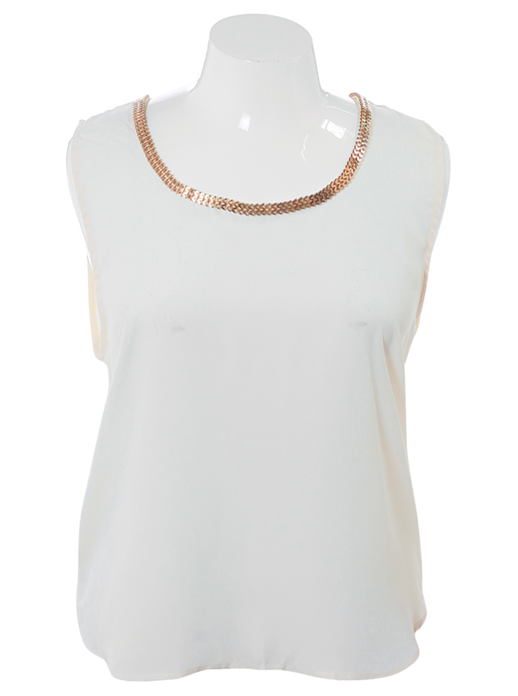Plus Size Gilded Chains Sheer Tan Top