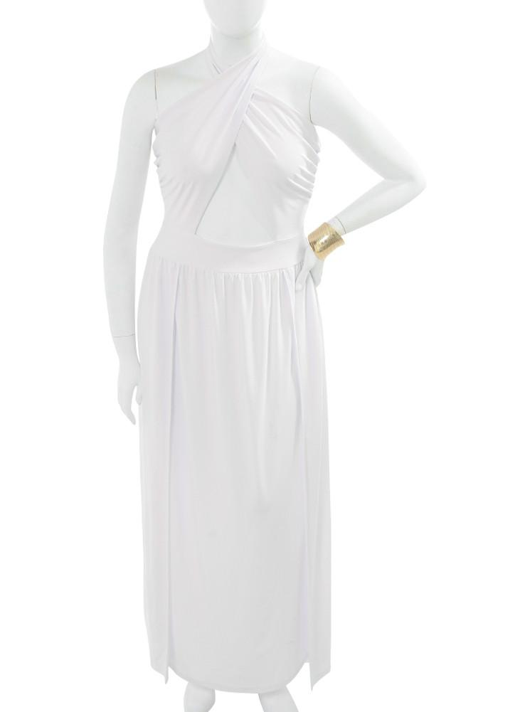 Plus Size Stunning Runway White Maxi Dress