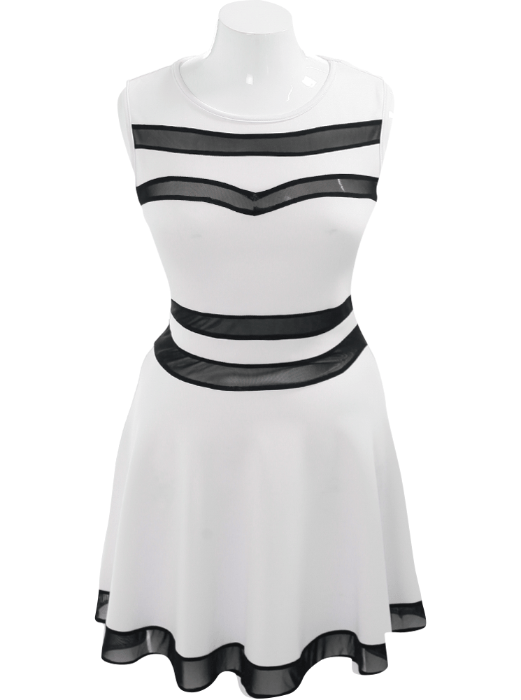 Plus Size Sweetheart Mesh White Skater Dress