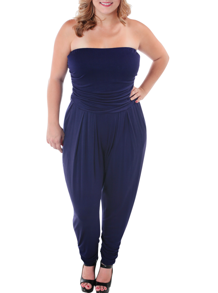 Plus Size Sexy Strapless Navy Blue Jumpsuit