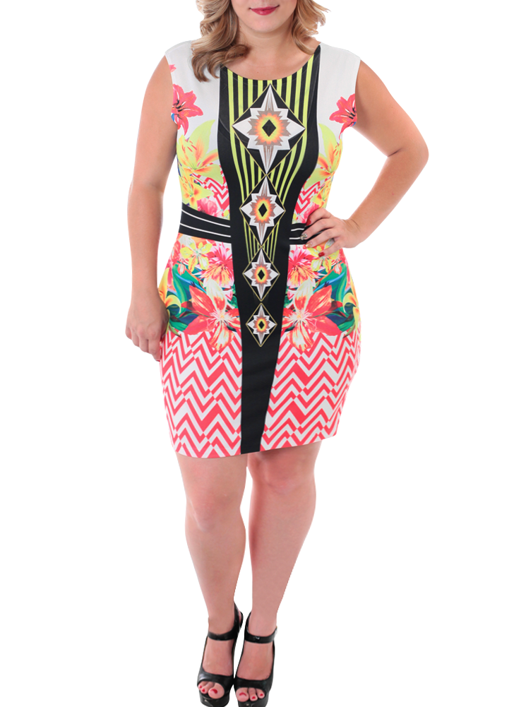 Plus Size Tropical Love Bodycon Dress
