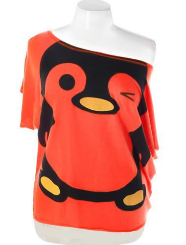 Plus Size Sexy Loose One Shoulder Penguin Orange Top