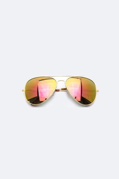 Trendsetter Mirror Tinted Aviator Gold/Pink Sunglasses