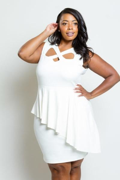 Plus Size Crossed Neckline Peplum Dress [SALE]